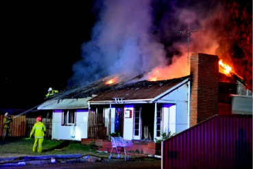 The fire at a Friar Road home in Armadale last night.