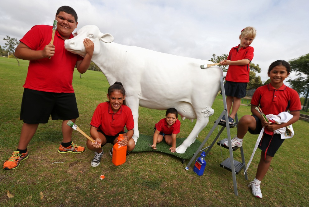 James Cameron (Year 6), Jamie Cameron (Year 6), Trust Iongi (Pre Primary), Sarah Griffin (Pre Primary) and Nadira Sait (Year 5) with their Picasso Cow Picture: Matt Jelonek d452033