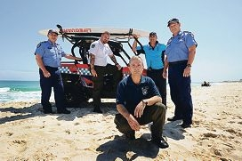 City of Stirling security team leader Tim Oldham (foreground) with, from left, Scarborough Police Station officer Sgt Paul McStravick, City of Stirling security officer Ben Merrick, Stirling City beach inspector Andreas Kolm and Scarborough Police officer-in-charge Senior Sergeant Neville Patterson.