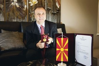 Zoran Coseski, who emigrated to Australia with his family 40years ago, was awarded with the Order of the Republic of Macedonia for his tireless work in helping his birth country. Picture: Emma Reeves www.communitypix.com.au d406920