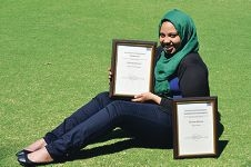Shufaa Athman with her awards.
