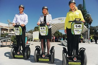 City of Perth Lord Mayor Lisa Scaffidi flanked by Segway Tours WA co-owners Owen Williams and Belinda Hill. Picture: Marcus Whisson www.communitypix.com.au d408875
