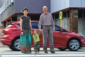 Aspiring councillor James Peart, with wife Rebecca and son Ludo, wants more zebra crossings in the City of Vincent. Picture: Marcus Whisson www.communitypix.com.au d408910
