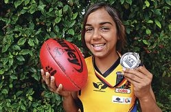 Footy star: 13-year-old Courtney Hodder, of Cooloongup.