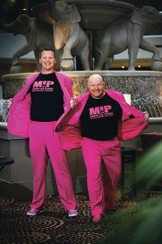 Greg Chapman and Ryan Thompson climbed Mt Kilimanjaro in pink suits to raise money for the Pink Ribbon Gala Ball at the Hyatt Regency Perth. d407757