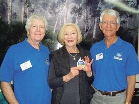 Ambassador for Ageing Noeline Brown with National Seniors Australia Zone 108 chairman David Carpenter and Hillarys Branch president David Haimes.