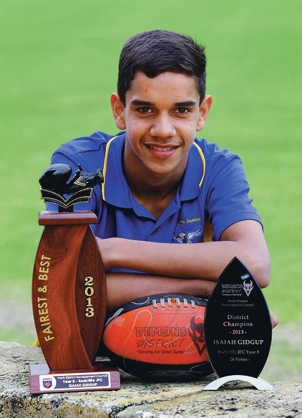 Isaiah Gidgup was a dominant presence in the Perth district awards. Picture: Martin Kennealey www.communitypix.com.au d408460