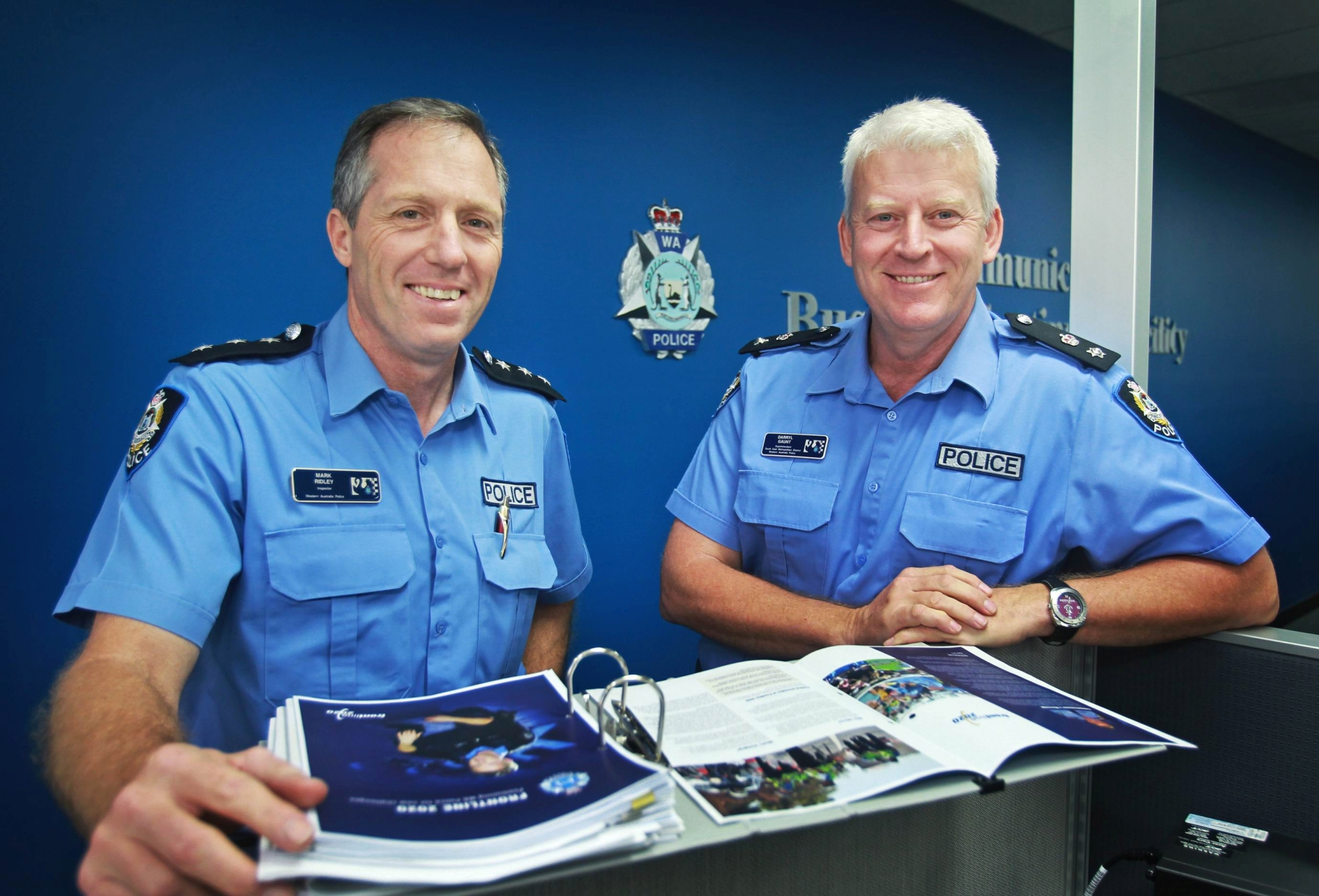 At the helm: Inspector Mark Ridley from Infringement Management and Operations, Specialist Enforcement and Operations and South East Metropolitan District Superintendent Darryl Gaunt. Picture: David Baylis www.communitypix.com.au d408479