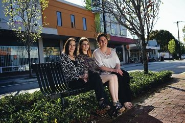 Business owners Tina Burkett (Soletta), Carla Totaro (The Annex) and Natalie Upson (The Mezz) are part of the Mt Hawthorn Hub, which is planning events to attract the public back to the area. Picture: Andrew Ritchie www.communitypix.com.au d408754