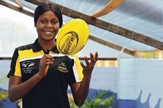 Sport liaison officer Susan Chuot discovered a love for sport when she arrived in Perth. Picture: Marcus Whisson www.communitypix.com.au d408167