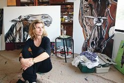 Artist Roslyn Nolen was given a rare opportunity to paint a |series of portraits of champion mare Black Caviar.