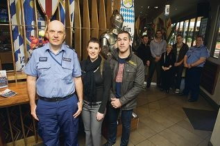 Senior Constable Bernie Rowan, Sovereign Arms venue manager Steph Orso and Dusk Nightclub venue manager Aaron Dalziell are part of the Joondalup hotels accord. Picture: Emma Reeves www.communitypix.com.au d406198