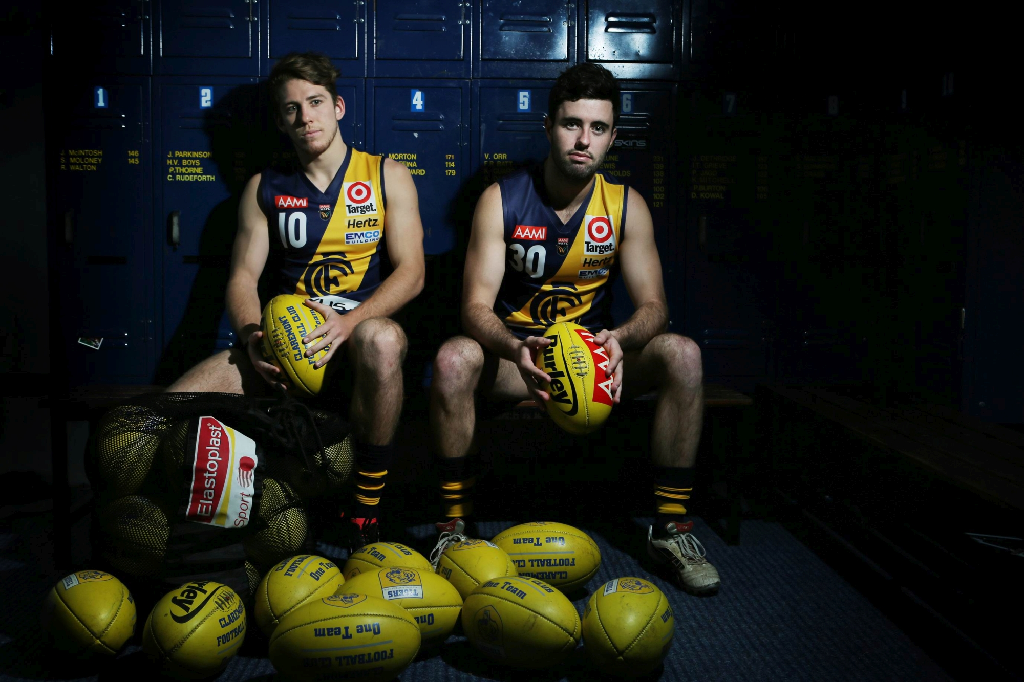 Sam Fong and Tom Taylor in the Claremont Oval clubrooms. Picture: Andrew Ritchie www.communitypix.com.au d407278