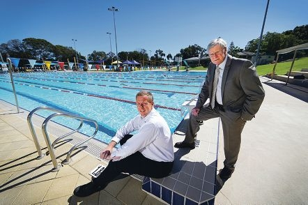 Town of Claremont officer Andrew Head and Mayor Jock Barker say the Town has saved enough water to fill 97 Olympic swimming pools. Picture: Andrew Ritchie d407373