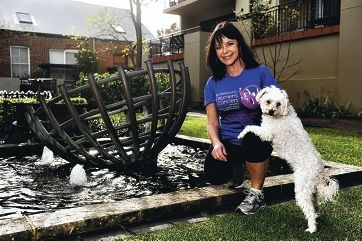 Cancer survivor Yvonne Sharpe will walk to raise funds for research with her beloved dog Jules. Picture: Marcus Whisson
