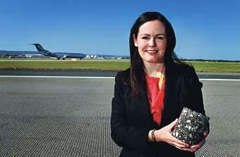 Perth Airport executive general manager Fiona Lander at the runway. Picture: Elle Borgward www.communitypix.com.au d407456
