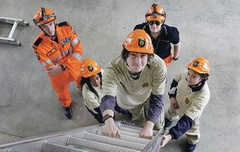 Cockburn SES members Matt Thomas and Teagan Buss put cadets Blainey Gwarada, Justin Morrison and Destiny Harema through their paces. Picture: Martin Kennealey d407108