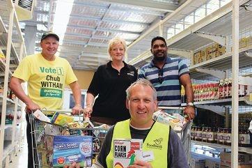 South West Region MLC Colin Holt, Peel Foodbank branch manager Caroline Cox , WA senate candidate David Wirrpanda and (front) Peel Foodbank volunteer Andrew Hives.