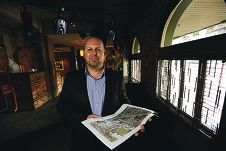 Jason Antczak with his redevelopment plans for the Leederville Hotel. Picture: Andrew Ritchie d407267