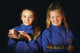 Year 9s Sophia Lego, with a Stimsons python and Frances Siggins, with a bobtail lizard. Picture: Andrew Ritchie d406928