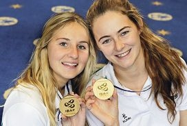 Carrie Smith (18) and Ella Clark (17) with their gold medals.