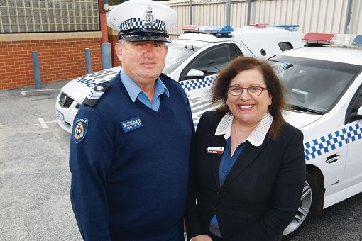 Senior Sergeant Wal Brierley and Shire of Kalamunda CEO Rhonda Hardy. Picture: Bruce Hunt www.communitypix.com.au d406969
