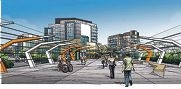 A concept design for the pedestrian bridge linking Southport and Oxford streets.