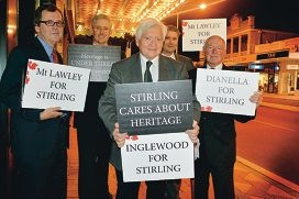 Stirling Mayor David Boothman, with chief executive Stuart Jardine, Mt Lawley Society member Paul Collins and councillors Joe Ferrante and Rod Willox.