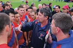 Bill Monaghan talks tactics during a game this season. Picture: Justin Bianchini