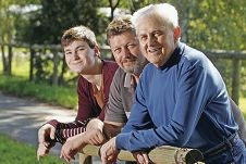 Blood relatives (from front): Rudi Morgan Snr., son Rudi and his son Tyler are all blood donors. Picture: Bruce Hunt d406516