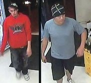 Police say these men stole five bottles of alcohol from a Merriwa bottle shop on July 28.