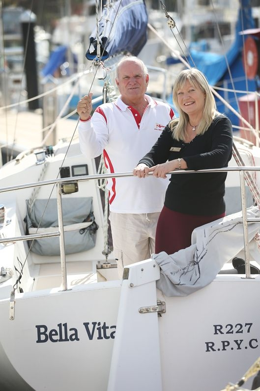Graeme Martin and Sailabilty WA co-ordinator Ann Hodgkinson on the bow of Bella Vista