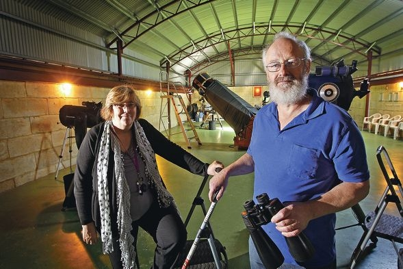 Bella and Hans Wunderlin prepare to bid a sad farewell to the Gingin Observatory. Picture: Bruce Hunt d406782