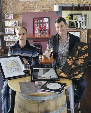 Nick Spano of the Corner Room and Scott Arnold -Eyers with artworks to feature in Art on the Menu. Picture: Martin Kennealey d406025