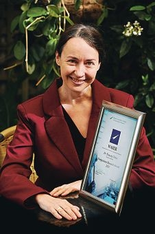 Dr Tracey Jones with her Western Australian Institute for Educational Research award. Picture: Marcus Whisson d405956