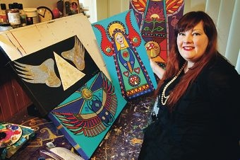 Megan Fraser with some of her work. Picture: Bruce Hunt www.communitypix.com.au d406362