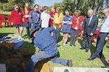 Principal Peter Blackwell, original principal John Thompson and students Jemma Holmes, Travis McKean and Lili McKean wait to open the time capsule. Picture: Emma Reeves d406267