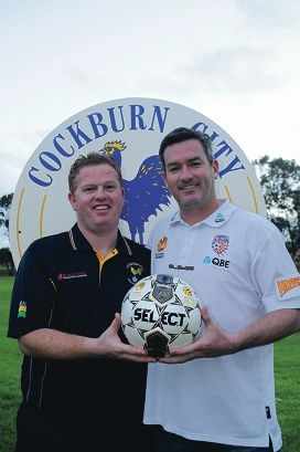 Cockburn City coach Marc Anthony and Perth Glory assistant coach Scott Miller.