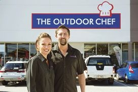 Ben and Lee Davies outside their new store The Outdoor Chef.