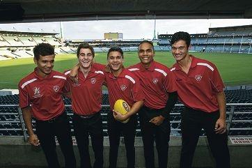 AIS-AFL Academy Squad members Callum Ah Chee, Kade Stewart, Jarrod Pickett, Jermaine Miller-Lewis and Matthew Ah Siu. Picture: Louise White www.communitypix.com.au d405776