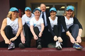 Emilia Hay, Allan Sudholz, Marilyn Sudholz, Bill Munro, Cate Harman and Belinda Katz are taking part in the City to Surf this year to raise awareness about prostate cancer. Picture: Andrew Ritchie d405544