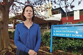 Fremantle MLA Simone McGurk outside Kaleeya Hospital, which is expected to close when Fiona Stanley Hospital opens. Picture: Elle Borgward d405843
