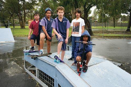Kobi Smith, Ali Whakarau, Mason Mirco, Kieran Cullen-Pike and Ronald Jamieson at the skate park. Picture: Emma Reeves d405648