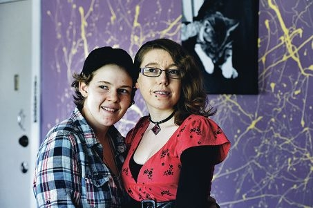 Lesbian couple Meagan Bousfield and Freedom Bradbury have been engaged for 12 months in the hope that they can one day get married. Picture: Marcus Whisson www.communitypix.com.au d406172