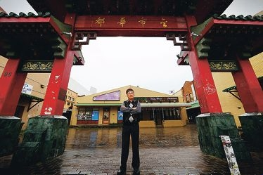 Chung Wah Association President Sammy Yap at the entrance to Chinatown, which he says is not operating anywhere near its potential. Picture: Andrew Ritchie d406584