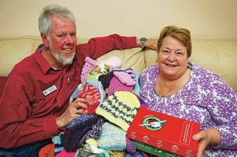 Operation Christmas Child northern suburbs coordinator Ken Tasker with Lita Devlin Picture: Emma Reeves www.communitypix.com.au d405953