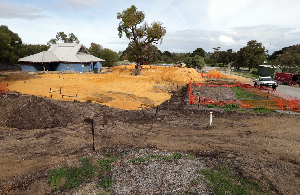 The new skate park under construction. Picture: Martin Kennealey  d454382