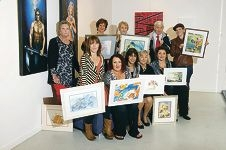 Some of Renata Wright's watercolour students who will be exhibiting at (b)lender art gallery this month.