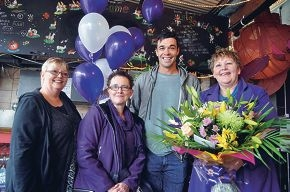 Docker Ryan Crowley poses for a shot with Dianne Bender, Dianne Waddingham and Hayley MacDivitt.