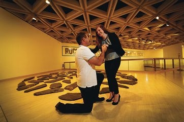 Callum Henderson proposed to Samantha Libby at the Art Gallery of WA last month.